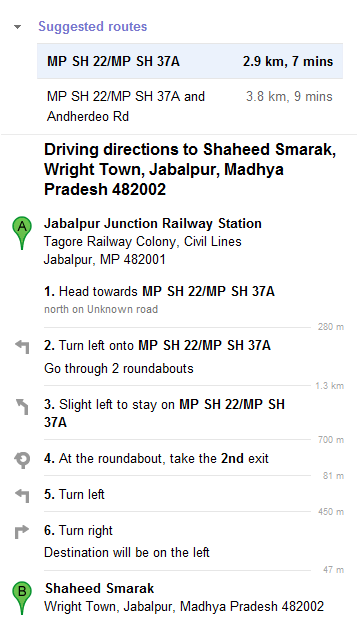 Jabalpur Railway Station to Shaheed Smarak Jabalpur